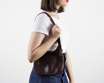 Vintage COACH Leather Bag/ Brown Leather Bag / Small / Brown Indie Satchel