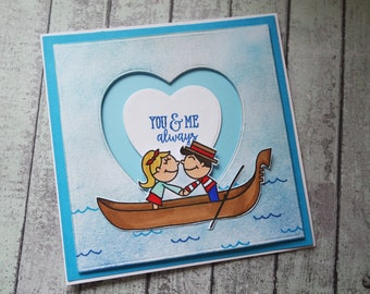 Gondola Valentines card /You and me always card /Venice valentine/ Valentine's day card /Love card /Proposal card / Cards UK / Handmade card