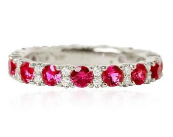 Ruby and Diamond Eternity Ring. Ruby Eternity Band.Diamond ring. Ruby ring. Ruby wedding band. Gold Ruby Ring.Eternity Wedding Band