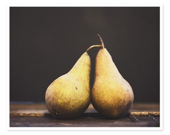 Food Photography, Bosc Pears Photography, Dark Moody, Still Life Photograph, Kitchen Decor, Food Art, Rustic Farmhouse, Cottage Chic