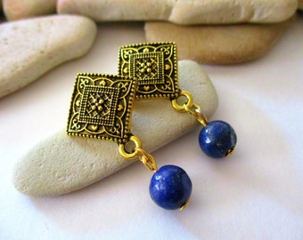 Lapis Lazuli Earrings | Post Earrings | Blue Stone Earrings | Dark Blue Earrings | Navy Blue Earrings | Blue Earrings | Gold Lapis Earrings