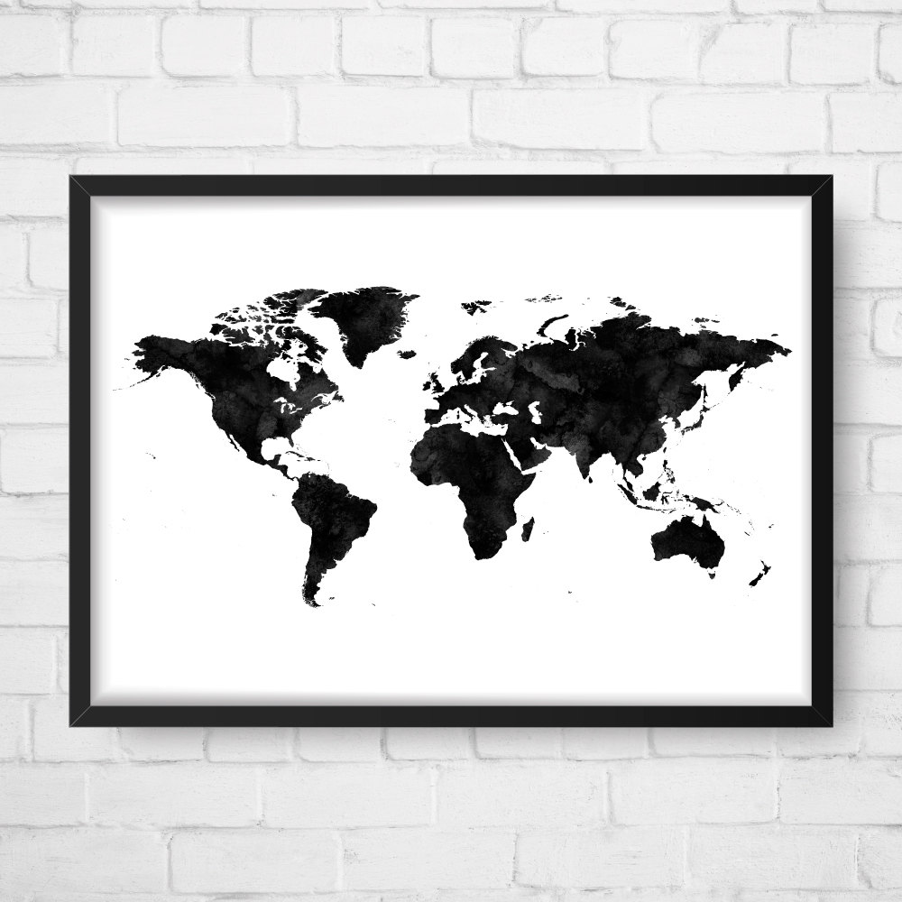 World map poster watercolor print world map art world map zoom gumiabroncs Image collections
