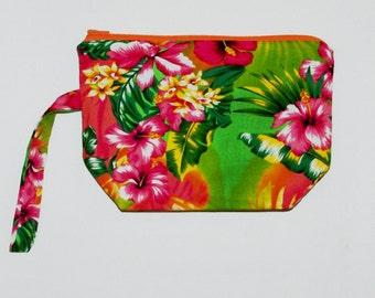 Hawaiian Cosmetic Bag, Tiki, Polynesian, Flirty Fun, Maui, Tropical Flowers, Floral, No Shipping Fee, Ready To Ship TODAY, AGFT 1009