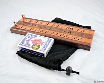 Wood Cribbage Board - Travel Cribbage - Folding Cribbage - Black Walnut & Black Cherry - 2 Player