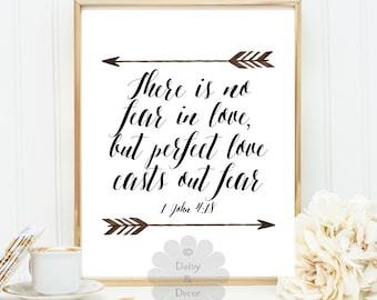 There is no fear in love perfect love casts our fear 1 John 4:18 Bible verse printable typography poster verse scripture print wall decor