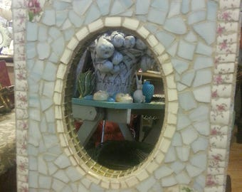 Unique vintage handmade Shabby Chic mosaic frame with oval mirror, light blue & white with lovely floral detailed decoration and edging
