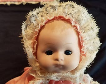 SALE Vintage Ceramic Baby Doll With Pad 1980s Pink White Lace