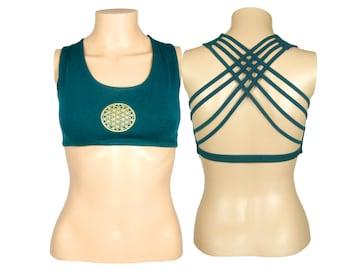 Flower of Life Dark Teal Yoga Bra - Yantra Criss Cross design workout bra - Athletic bra - sports bra - Hot Yoga Bra - Lycra Cotton Blend