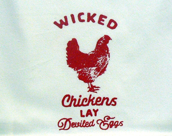 Farmhouse Hand Towel Wicked Chickens Lay Deviled Eggs Chalk Couture Red Ink Off White Cotton Kitchen Towel