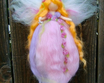Needle felted Star Garden Fairy Angel-  Waldorf inspired  By Rebecca Varon