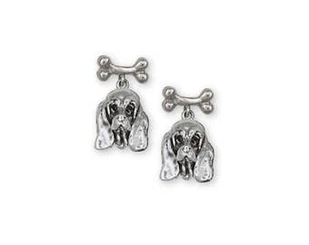 Basset Hound Earrings Jewelry Sterling Silver Handmade Dog Earrings BH3-BNE