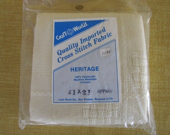 "Heritage,cream 21""x21"",cross stitch fabric,14 ct.,embroidery,100% polyacrylic,machine washable"
