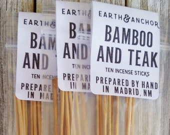 Bamboo & Teak Hand-Dipped Incense || Cured by Sun in the NM Desert || Natural Incense Sticks