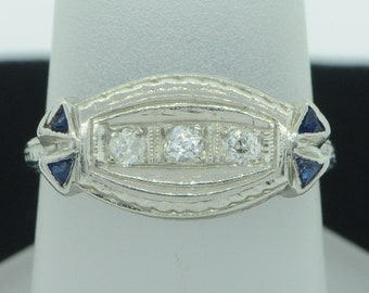 Art Deco (ca. 1915) 18K White Gold Filagree Ring with Diamonds & Sapphires (Size 6)