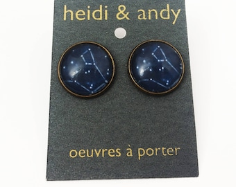 Constellations, Space, Stars, Sky, Dark Blue, Drawing, Hand-Made, Brass, French Lever Back Loop, Earring studs