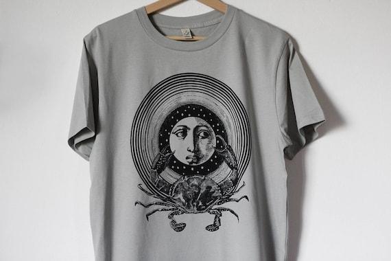 men's shirt, crab shirt, moon tshirt, men's tee shirt, cancer shirt, crab t-shirt for man, steampunk shirt, zodiac t-shirt, boyfriend shirt