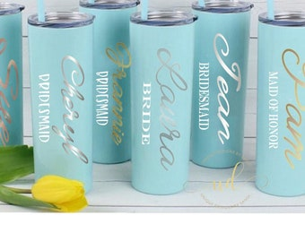Personalized Tumbler, Stainless Steel Skinny Tumbler, Personalized Gift, Wedding Tumbler, Bridesmaid Custom Gift, Bridal Party Tumbler