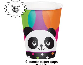 panda cups, pandamonium party, paper cups, girls birthday ideas, childrens, toddlers, panda bears, cute baby animals, hot pink and black