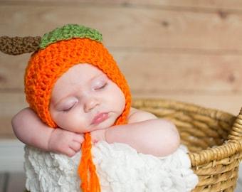 Baby Pumpkin Hat, Crochet Pumpkin Hat, Crochet Baby Bonnet, Pumpkin Bonnet, Knit Pumpkin Hat, Pumpkin Photo Prop, Newborn Pumpkin