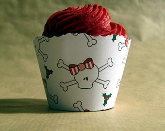 holiday christmas skull and crossbones birthday party cupcake wrappers decorations - set of 12