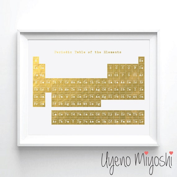 Periodic table i gold foil print gold print custom print in like this item urtaz Images