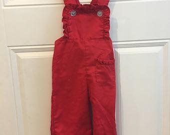 Vintage Toddler Girls' Red Ruffled Bib Overalls (18 months)