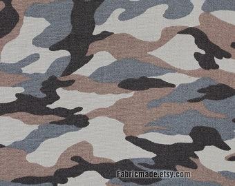 Camouflage Cotton Fabric, Brown Grey Gray Camouflage Fabric - 1/2 yard