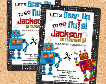 Robot Invitations, Robot Birthday Invitations, Robot Party Invitations, Robot Birthday Party Invitations, Digital Printable Invitations