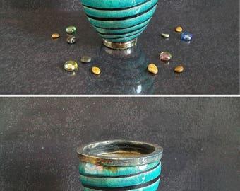 succulent pot, ceramic planter pot, modern pot, italian pottery, striped planter, custom planter, raku pottery, cactus pot, personalized pot