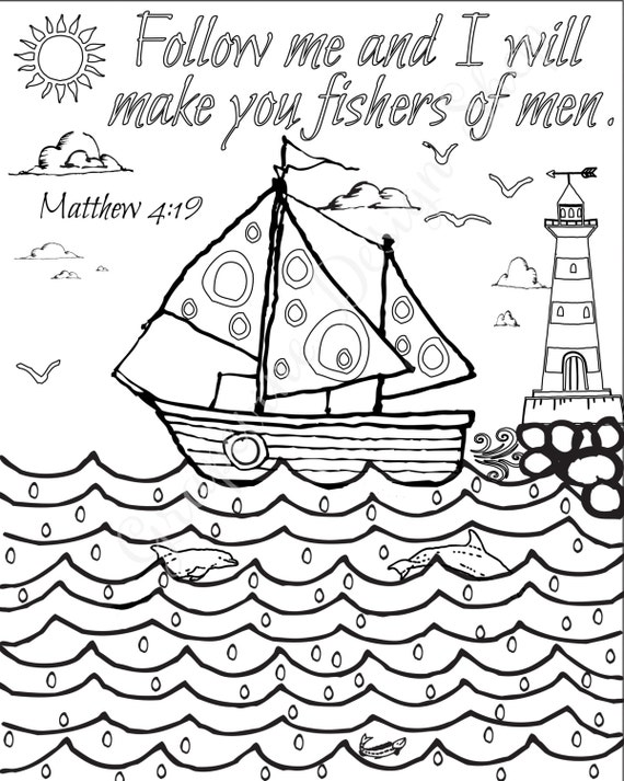 Bible verse coloring pages Set of 5 Beach Instant printable.