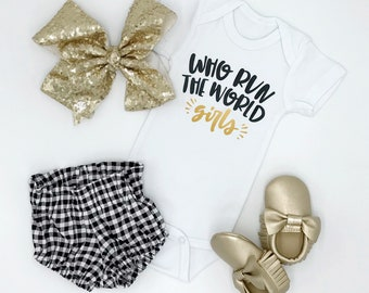 Who Run the World / Girls / Baby Bodysuit / Baby Girl / Baby Clothes / Baby Gift / Toddler T-Shirt / Girls' Clothing / Girl Power / Funny