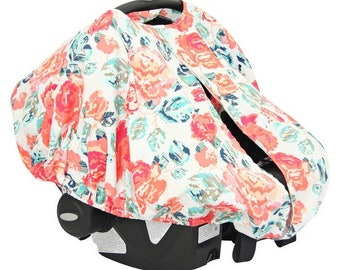 Everly's Garden | Coral and Navy Car Seat Canopy Cover