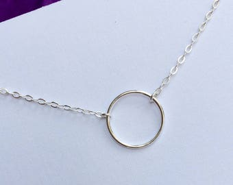 Circle Necklace, Sterling Silver Necklace, Karma Necklace, Eternity Necklace, Infinity Necklace, Gold Eternity Necklace