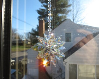 Medium Starburst Suncatcher, Swarovski Crystal Aurora Borealis, Made With 20mmClear Octagons, For Home Window, Keira's Crystal Creations