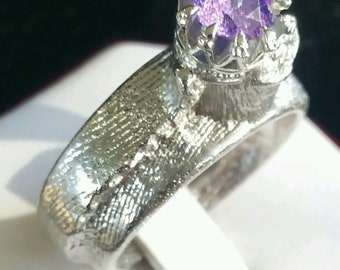 Sterling Silver Ring with rough amathest sapphie