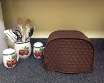 Brown 2 Slice Toaster Cover Quilted Fabric Small Appliance Covers Made To Order