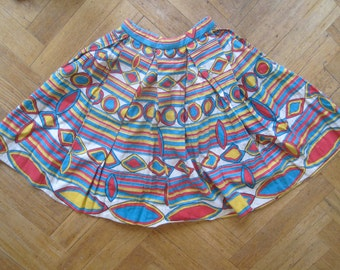 50s full circle skirt novelty print XS