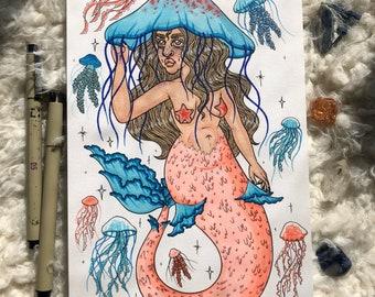 Jellyfish Mermaid ORIGINAL MERMAY ART