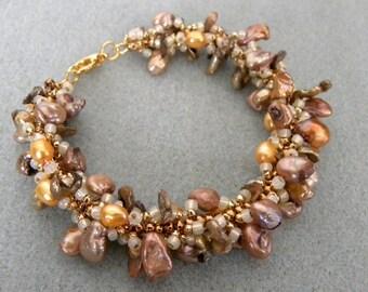 Fresh Water Pearl Spriral Loop Bracelet