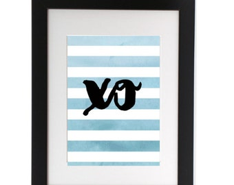 XO, Printable Art, Instant Download, Wall Art, Desk Art, Home Decor, Office Decor, 8x10, Typography, Stripes