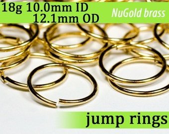 18g 10.0 mm ID 12.1mm OD NuGold brass jump rings -- 18g10.00 open jumprings