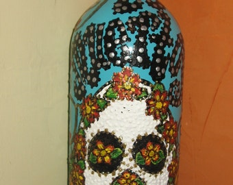 Hand painted wine bottle#26
