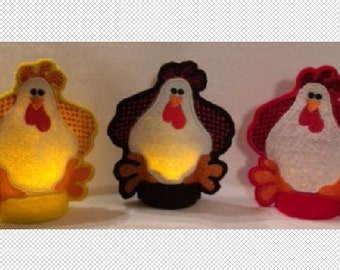 3 Felt Rooster designs - Flameless Tealight Cover - ITH - embroidery design - instant download - 4x4 hoop - In The Hoop