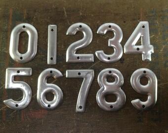 Vintage address numbers - small metal number - sign number - industrial metal number - small number charm telephone pole number - number set