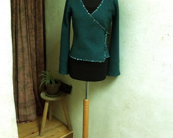 Boiled wool blue oil and floral bias wrap Cardigan