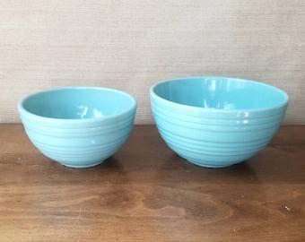 Vintage McCoy Mixing Bowl, Retro Nested Set of 2, Ringed Turquoise Blue, Aqua  Ribbed, Rustic Farmhouse Cottage Display