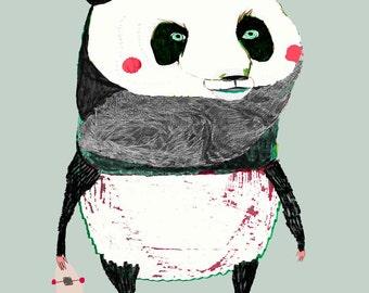 The Panda. art print - panda art - illustration print - kids decor - wall art - animal - children's illustration.