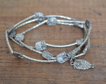 Owl silver beads, owl beads, owl necklace, owl lover present, owl, animal beads, bird beads, owl bead necklace, owl bead bracelet, owl bead