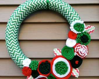 Christmas Wreath wrapped in Chevron Christmas Ribbon w/ felt flowers - Holiday Wreath - Christmas Wreath - Ribbon Wreath - Chevron Wreath