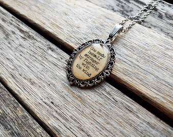 She made herself stronger by fighting with the wind - Frances Hodgson Burnett Quote Cameo-The Secret Garden-Literature Jewelry-Inspirational